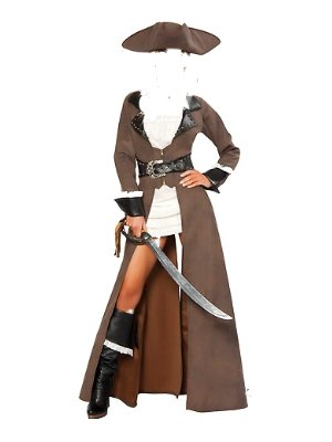 Ladies Brown Leather Pirate Fancy Dress Costume