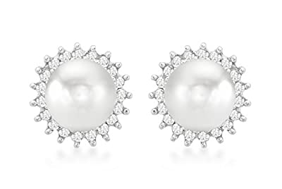 Carissima 9ct White Gold 0.25ct Diamond and Pearl Cluster Stud Earrings