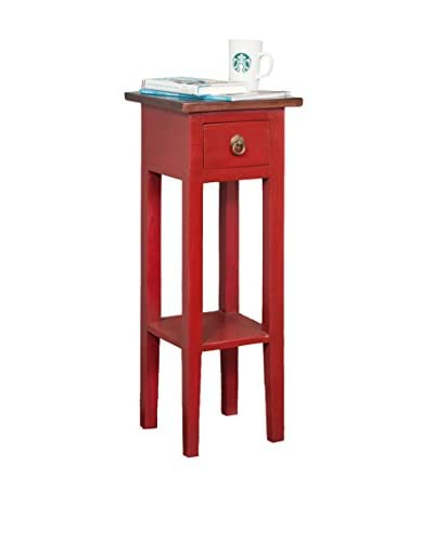 Jeffan Tracy Square Side Table, Red/Light Brown