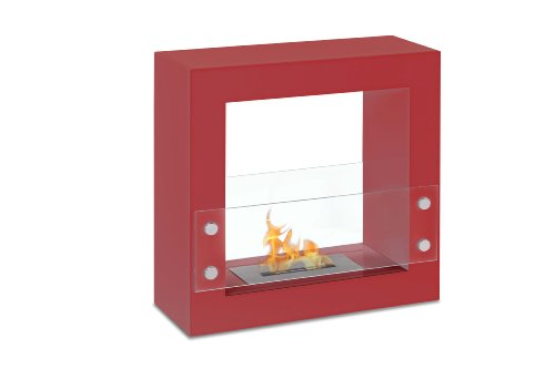 Ventless Ethanol Fireplace - Tectum Mini Red, Freestanding Ethanol Fireplace By Ignis