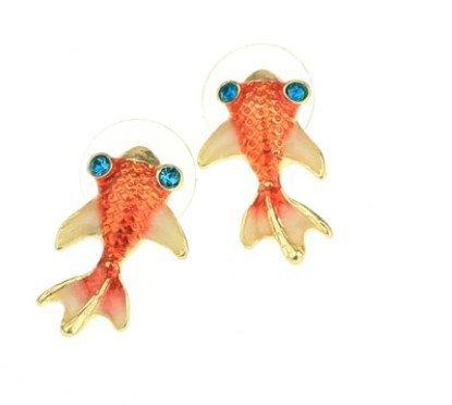 New Under the Sea Orange Carp Koi Gold Fish Goldfish Stud Earrings