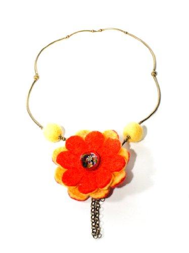 JousJous Yellow Handmade Felt Make Me Smile Necklace, 25