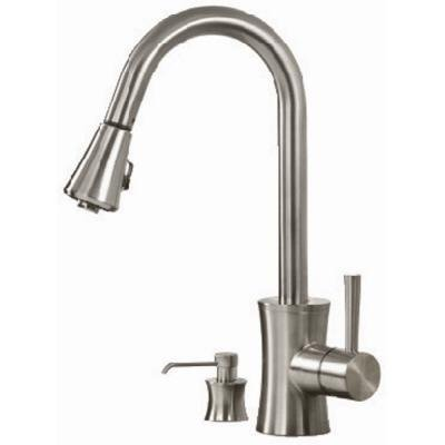 Pegasus FP0A5012BNV Luca Pull-Out Spray Kitchen Faucet with Soap Dispenser, Brushed Nickel