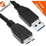STORITE OEM SuperSpeed USB 3.0 Cable A to Micro B - 1 Feet - 35cm - 0.35M Length - For WD/Seagate/Clickfree/Toshiba/Samsung External Hard Drives