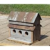 Handcrafted 3 Hole Barnwood Birdhouse. Made From 100 + Year Old Barnwood with a Tin Roof. Great Addition to Your Garden Landscape.
