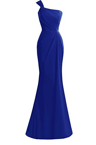 068b4e8054f KAMA BRIDAL Trumpet One-shoulder Floor-length Chiffon Formal Prom Evening  Dress Royal Blue