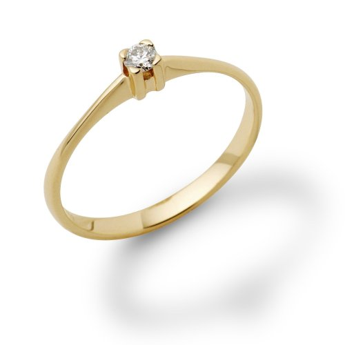 Engagement Ring, 18ct Yellow Gold, Diamond Solitaire Engagement Ring, 0.07 carat Diamond Weight, by Miore, M0599YR