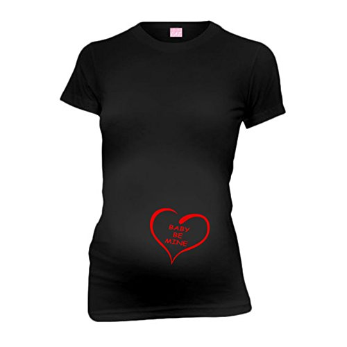 Baby Be Mine New Mom Funny Maternity T-Shirt Tee Shirt Top Baby Shower Gift Black S front-814071