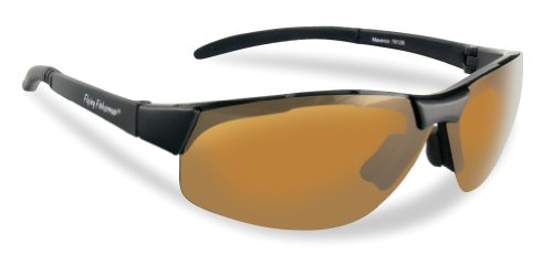 Flying Fisherman Maverick Polarized Sunglasses (Matte Black Frame, Yellow-Amber Lenses)