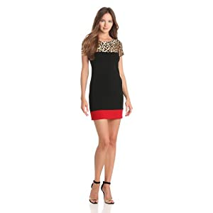 Star Vixen Women's Short Sleeve Print Yoke Color Block Dress, Leopard/Black/Red, Medium