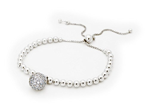 [Silver Rhodium Plated 3mm Ball Beads Adjustable Bracelet & Cz Disco Ball Haging] (The 3 Amigos Costume)
