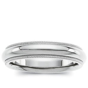 Genuine IceCarats Designer Jewelry Gift 14K White Gold Wedding Band Ring Ring. 03.00 Mm Comfort Fit Milgrain Band In 14K Whitegold Size 14.5