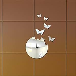 22 h modern style farfalla specchio orologio da parete for Specchio da parete camera amazon
