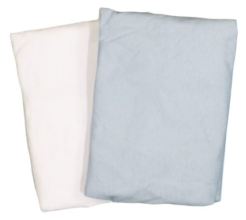 Portacrib 2 Pack Value Jersey Fitted Sheet White & Blue By American Baby Company