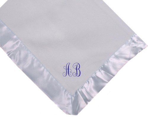 Custom Embroidered Monogram Monogrammed Blue Fleece Personalized Baby Blanket Yellow Thread front-119840