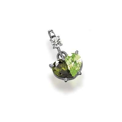 Nice Fashion Necklace Pendant Jewelry Sterling Silver Plated with Half Peridot, Half Olive CZ Heart Shaped Design(WoW !With Purchase Over $50 Receive A Marcrame Bracelet Free)