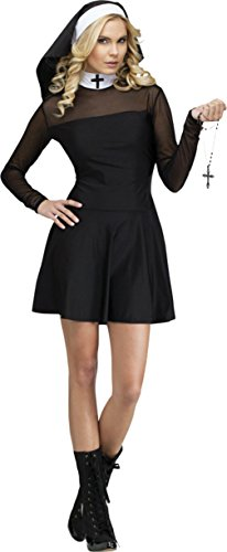 Funworld Womens Catholic Nun Habit Robe Sexy Sister Religious Fancy Costume