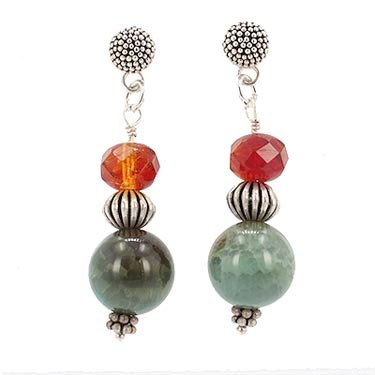 Round Green Agate Gemstone with Faceted Czech Glass Dangle Earrings on Sterling Silver Beaded Posts, #7703