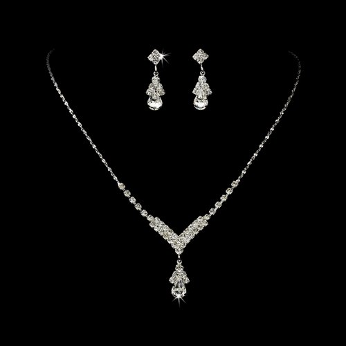 Bridal Wedding Jewelry Set Crystal Rhinestone Necklace V Teardrop Silver Clear