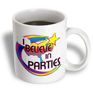 Dooni Designs - Believe In Dreamy Belief Designs - I Believe In Parties Cute Believer Design - 15Oz Mug (Mug_166736_2)
