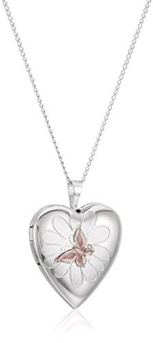 "Sterling Silver Butterfly Heart Locket Pendant Necklace, 18"""