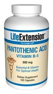 Life Extension Pantothenic Acid B5 Capsules, 500 mgs, 100 Count