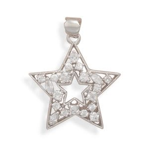 Rhodium Plated CZ Star Open Center Pendant
