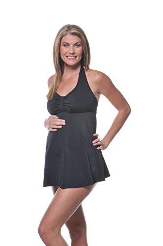 PregO Maternity Women's Babydoll Halter Swimsuit - Large Black