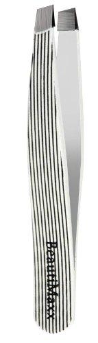 Beautimaxx 3.5-inch White Lines Slant Tip Eyebrow Tweezer