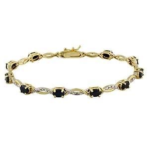 18K Gold Over Silver Diamond Accented Sapphire Swirl Bracelet