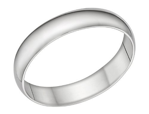 Men's 14k White Gold 4mm Comfort Fit Wedding Band Ring, Size 8.5