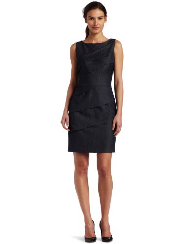 Calvin Klein Womens Pleated Dress, Dark Blue, 12