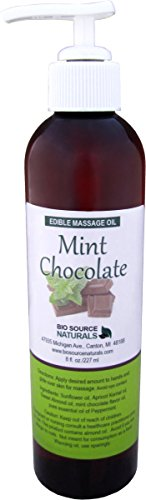 Mint Chocolate Edible Massage Oil 8 fl. oz. Pump with Pure Peppermint Essential Oil