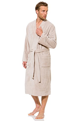 Morgenstern, Herren Bademantel, mit Kimonokragen, Gr. XXL, sand (dunkel beige) , Größen S bis XXL verfügbar, Außenseite kuschelige Microfaser Innenseite saugstarke Baumwolle ( Frottee )