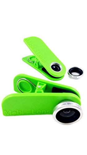 Mobi-Lens Combo Pack, Wide+Macro & Fisheye, Smartphone Lens For Iphone 6, Samsung Galaxy 5 Green