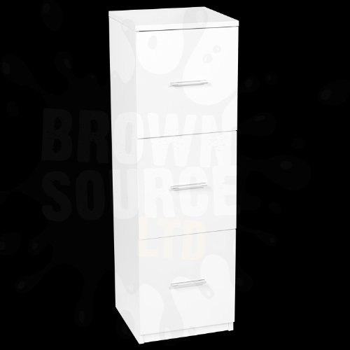 Hygena Chest of Drawers Bath Cabinet White High Gloss 3 Drawer Cupboard Unit