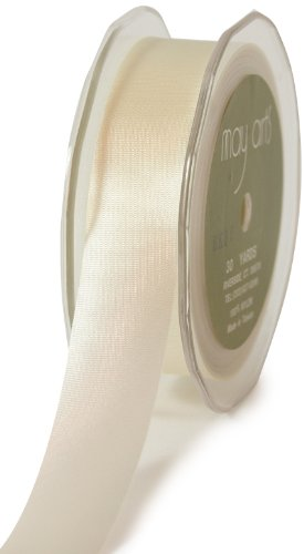 May Arts 4-Inch Wide Ribbon, Ivory Satin
