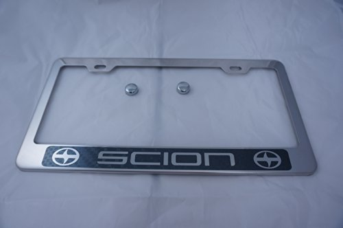 scion-chrome-stainless-steel-license-plate-frame-w-carbon-fiber-style-letter