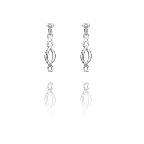 Basics Sterling Silver Double Twist Clip On Earrings