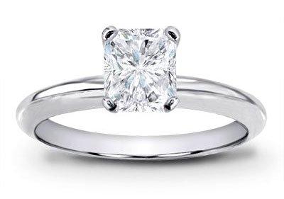 Platinum Solitaire Diamond Engagement Ring Radiant Cut ( J Color Vs2 Clarity 1.26 Ctw) - Size 4