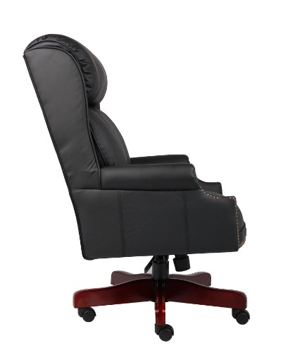 Boss Office Products B980-CP Traditional High Back CaressoftPlus Chair with Mahogany Base in Black 3