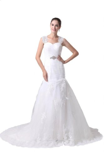 Orifashion White Tulle Fit and Flare Bridal/Wedding Dress (Model BWGHER0057), US Size 2