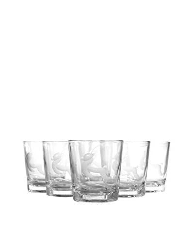1960s Set of 6 Etched Gazelle Glasses, Clear