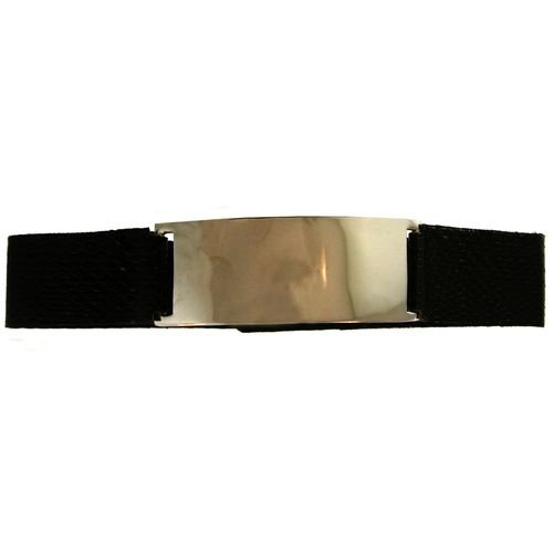 Faux Leather Choker with Metal Center In Black with Silver Finish