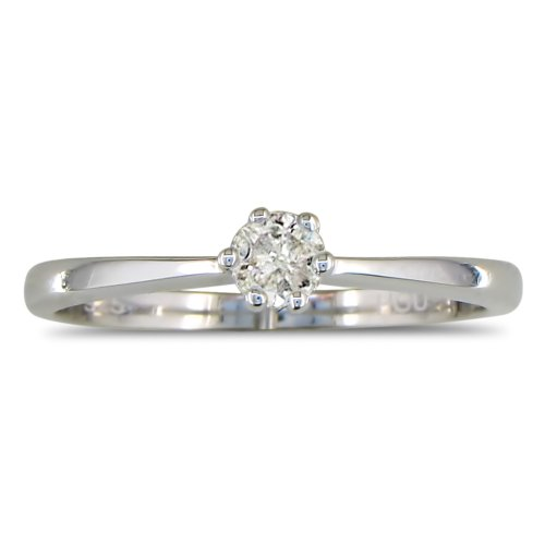 1/10ct Diamond Solitaire Ring Set in Sterling Silver ( Available Sizes 4-9)