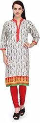 BPT Stylish Casual Wear White Cotton Printed Woman's Kurti ( Size XXL / 44