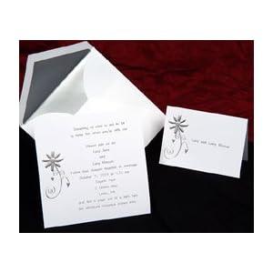 Artistic Daisy Silver Wedding Invitation (50 Pack)