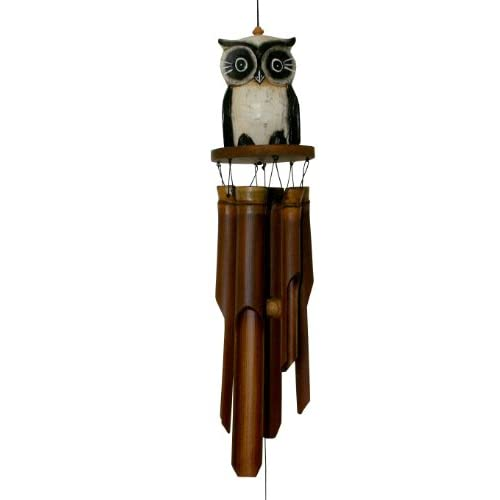Cohasset 246 Tan Oscar Owl Bamboo Wind Chime