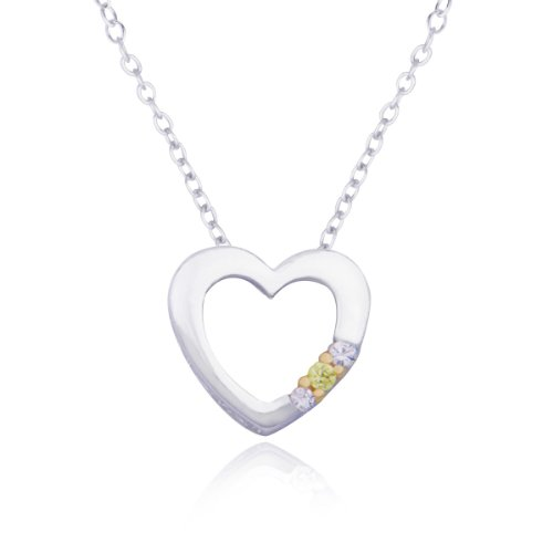 Rhodium Plated Sterling Silver Yellow and White Cubic Zirconia Heart Pendant Necklace, 18