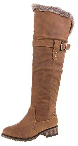 Damen Winter Stiefel mit Fell Damenstiefel Fellstiefel, Farbe Camel, Gr. 36